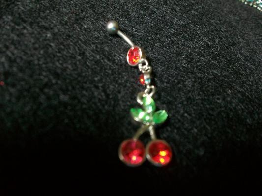 Red Crystal Dangling Cherries Navel Ring