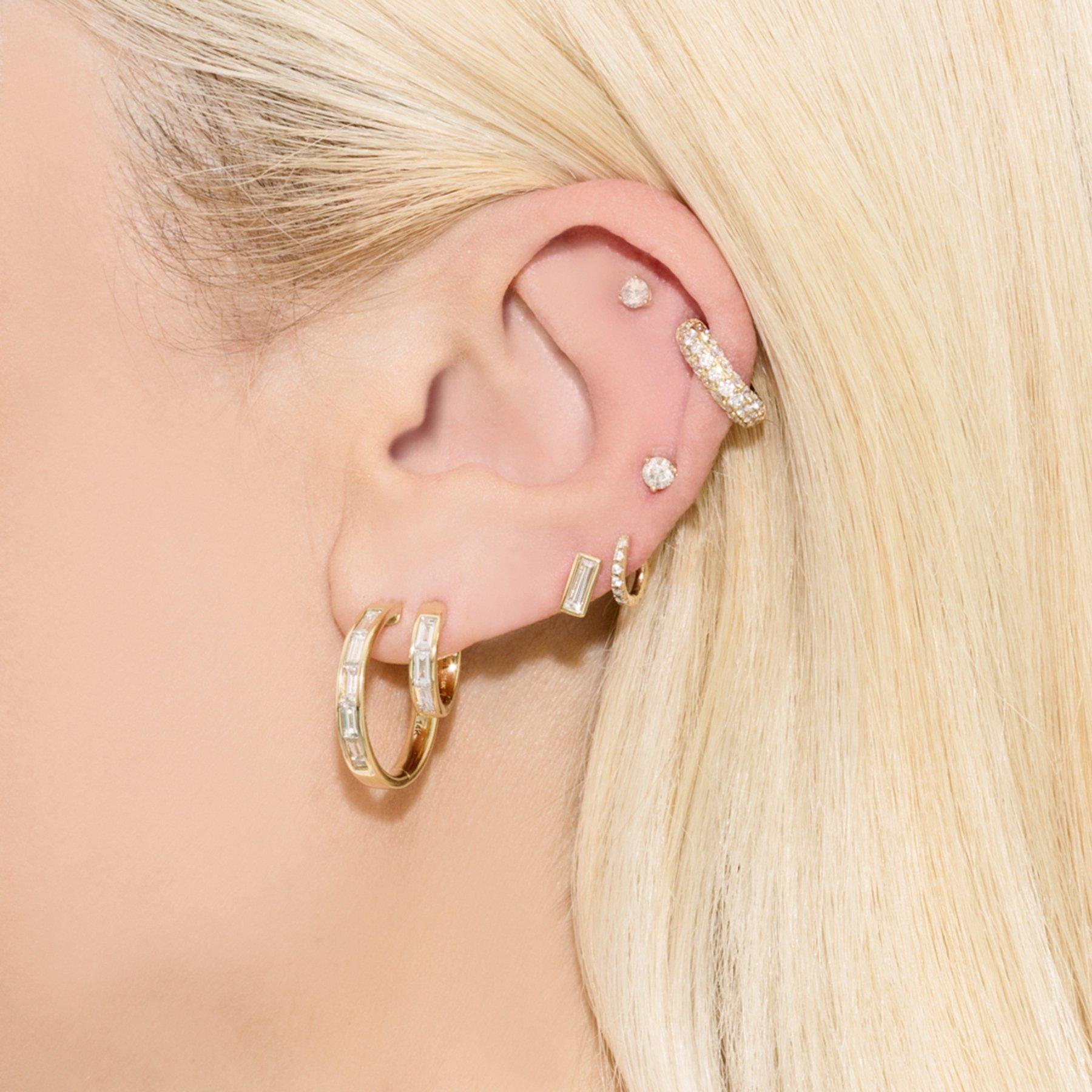 Hoops Of Our Dreams The Wear Every Single Day Design Is Updated With Eye Catching Baguette Diamond Stones 14k Ye Ear Jewelry Earrings Double Pierced Earrings