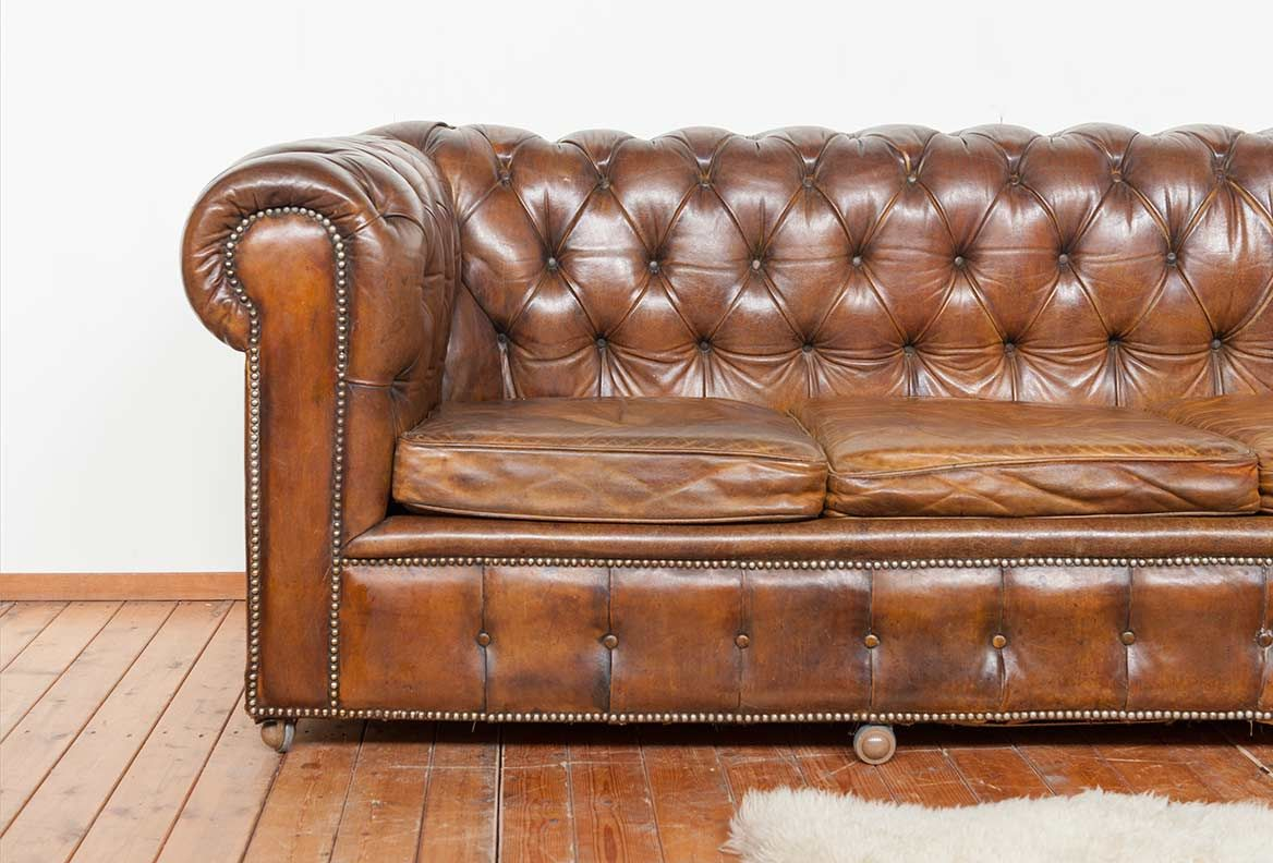 Old Vintage Large Chesterfield Sofa Leather