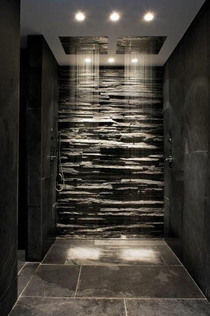 badezimmer in grau mit naturstein und dusche  Home Decor For Bathrooms  Modern master bathroom