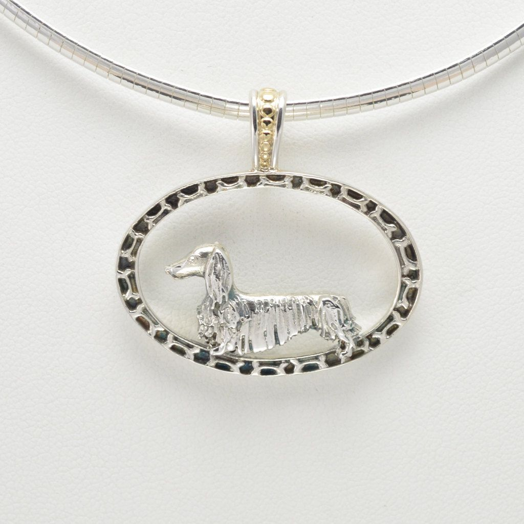 """Sterling Silver & 14Kt Gold Long Hair Dachshund Pendant w/ 16"""" Omega Chain fr Donna Pizarro's Animal Whimsey Collection of Fine Dog Jewelry by DonnaPizarroDesigns on Etsy"""