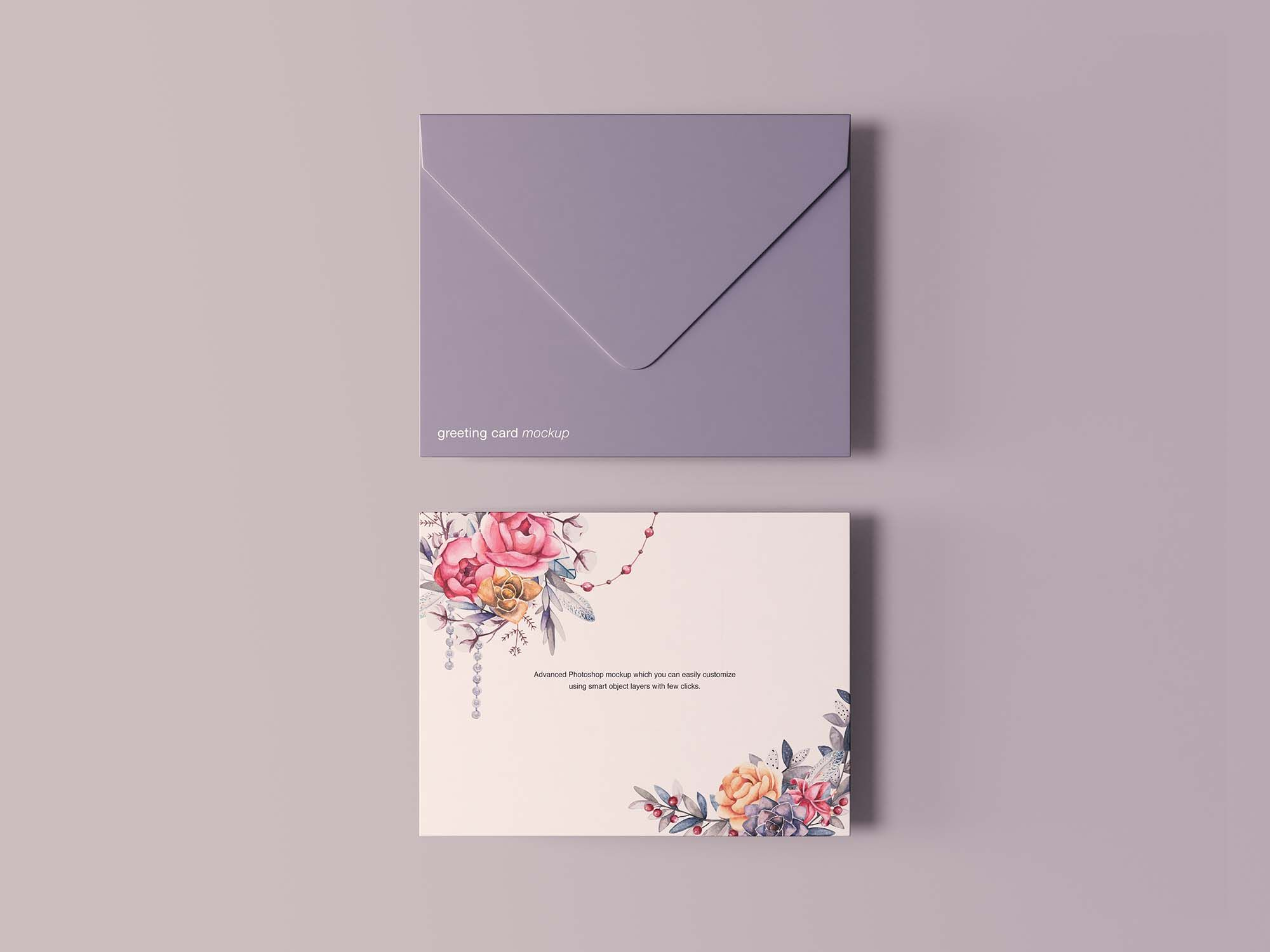 Free Greeting Card With Envelope Mockup Psd Free Greeting Cards Birthday Card Template Free Design Resources