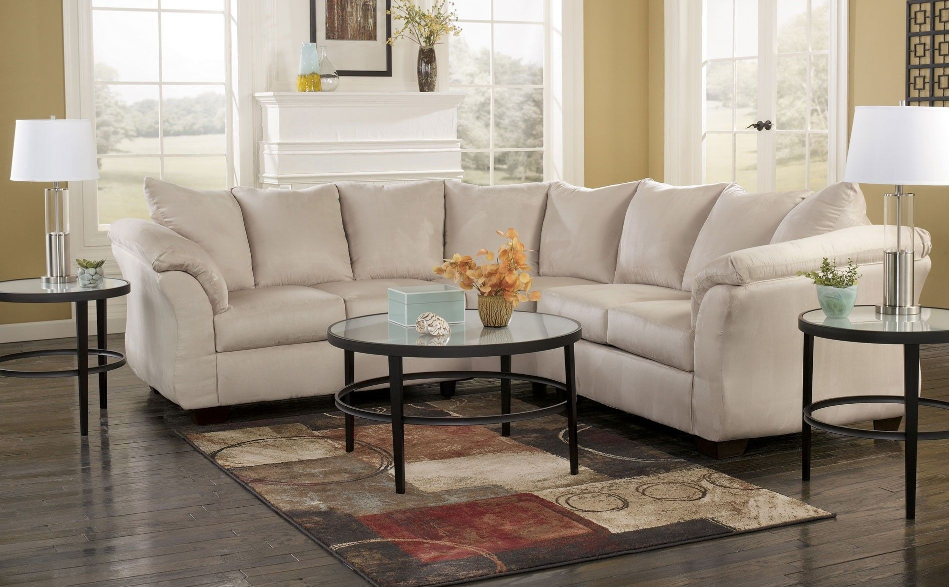 Cream Colored Sectionals Signature Darcy Sectional Stone