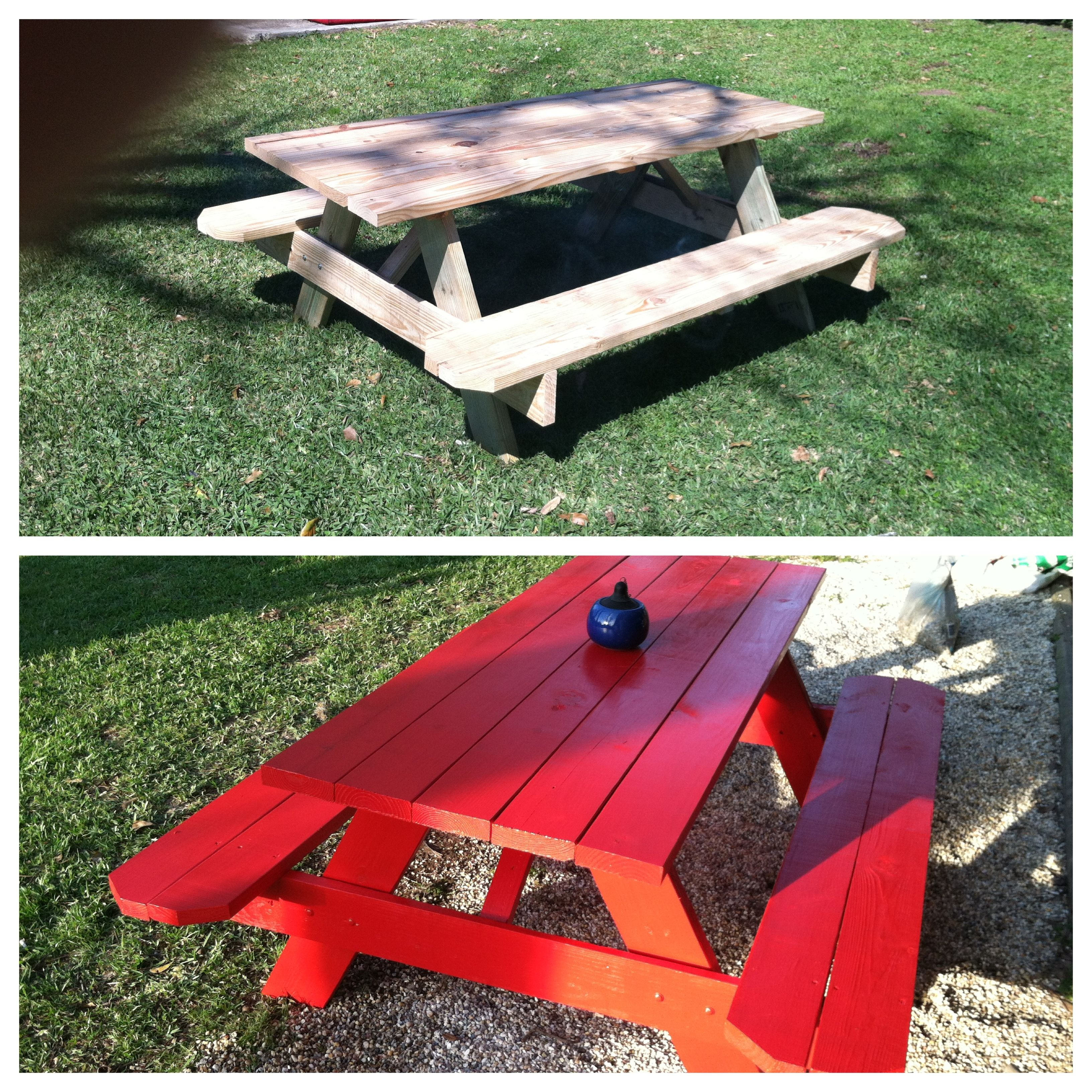 Lowes Picnic Table $88, Can Of Red Paint $11. Crawfish Boil Ready :)