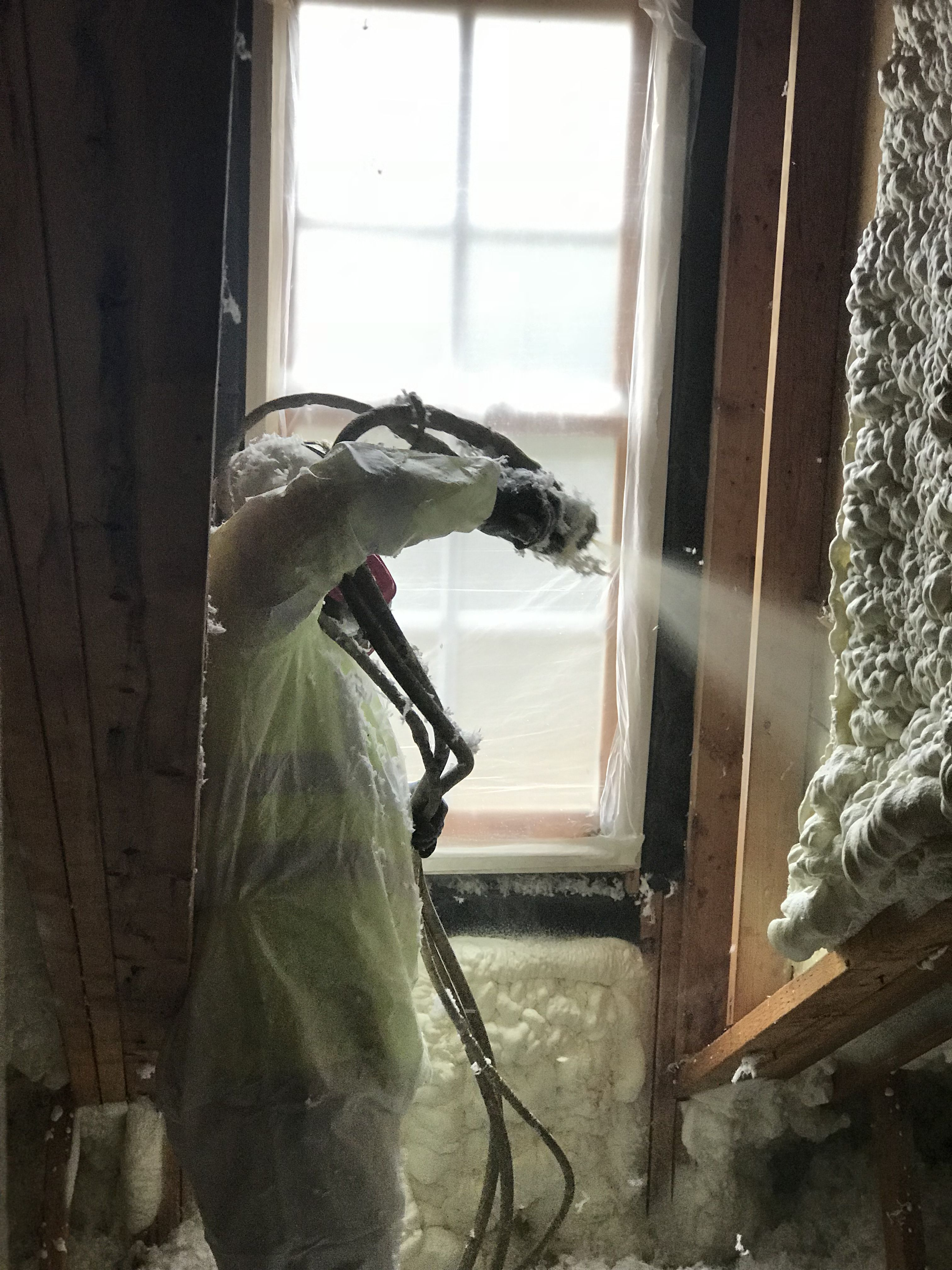 Sprayed Applied Foam On A Retro Fit Home Making It More Efficient Installed By Mpi Foam Raleigh Nc With Images Spray Foam Insulation