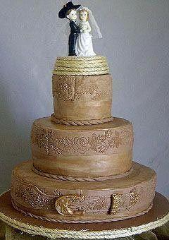 Earthy Brown Three Tier Western Theme Wedding Cake With A Bride And Groom Weddiing