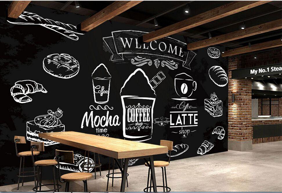 Afbeeldingsresultaat Voor Foodshop Design Modern Mural Mural Cafe Shop Wallpaper