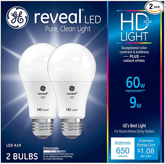 Ge Lighting Reveal Hd Led 9 Watt 60 Watt Replacement 650 Lumen A19 Light Bulb With Medium Base 2 Pack 98877 Amazon Com In 2020 Light Bulb Led Light Bulb Bulb