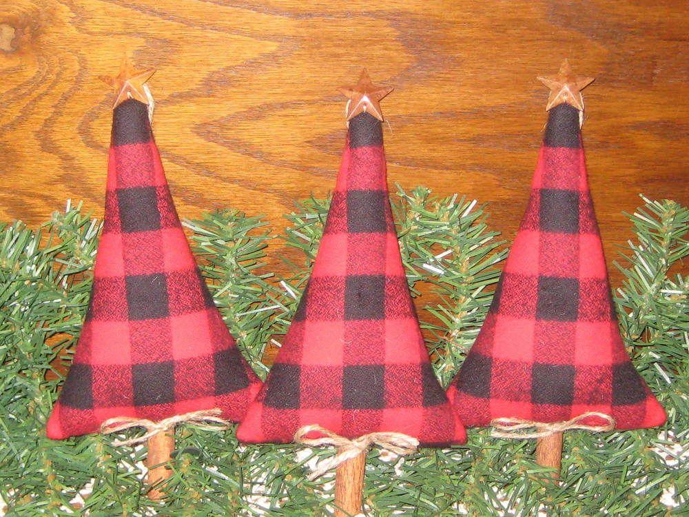 3 Handmade Buffalo Plaid fabric Trees Handmade Country Christmas