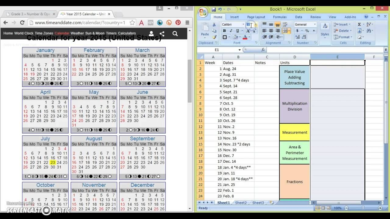 A Way To Use Excel To Map Out Your Curriculum For The Year