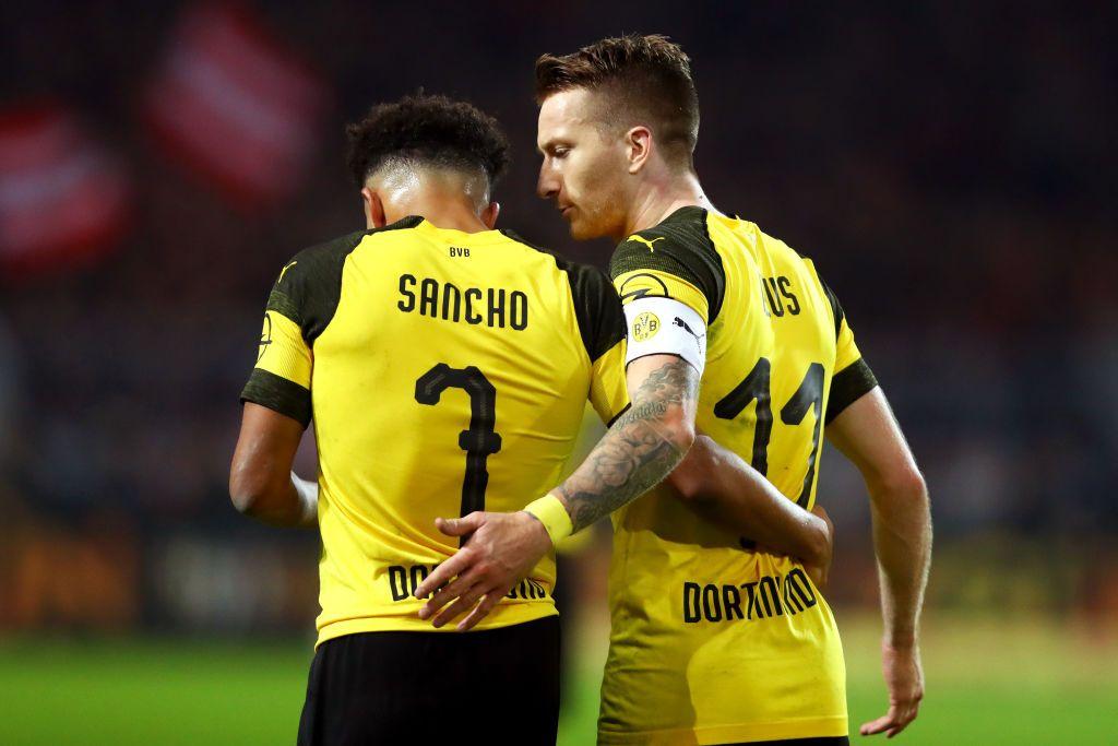 Dortmund Germany November 10 Marco Reus Of Borussia Dortmund Celebrates With Teammate Jadon Sancho After Scoring His Borussia Dortmund Dortmund Marco Reus