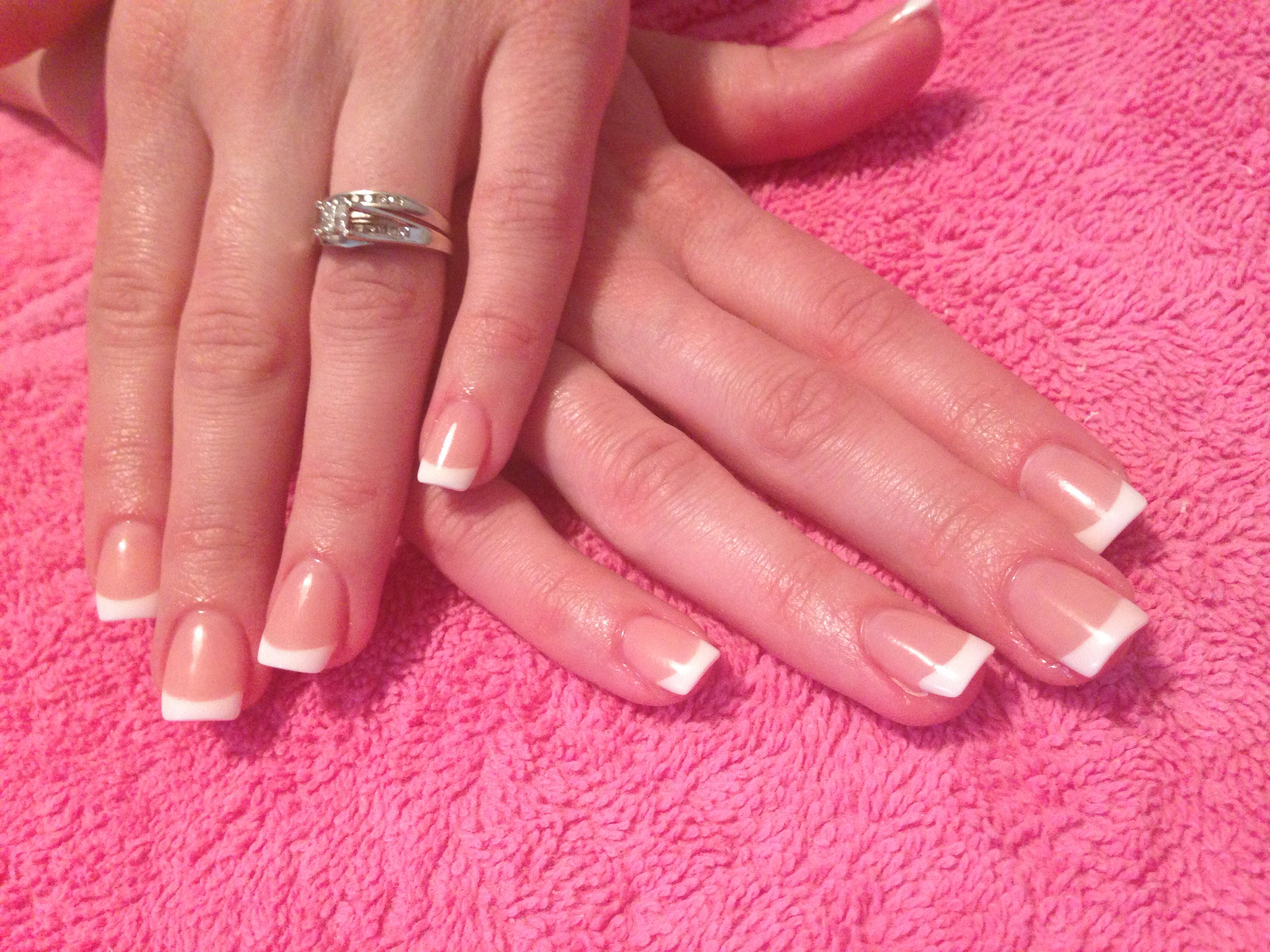 Classic French Acrylic Nails Like This But Slightly