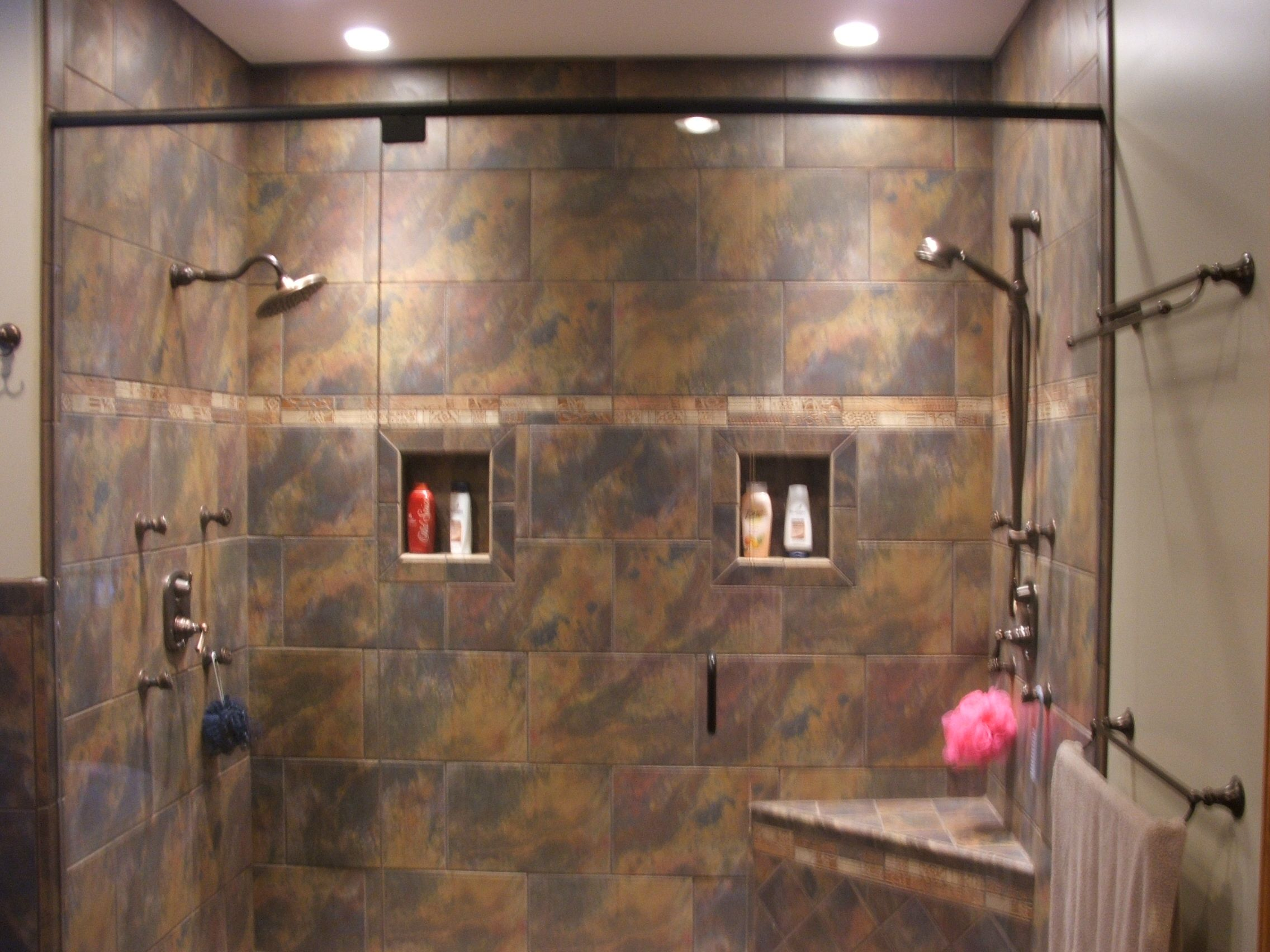 Custom Walk In Showers - just needs the waterfall in the center