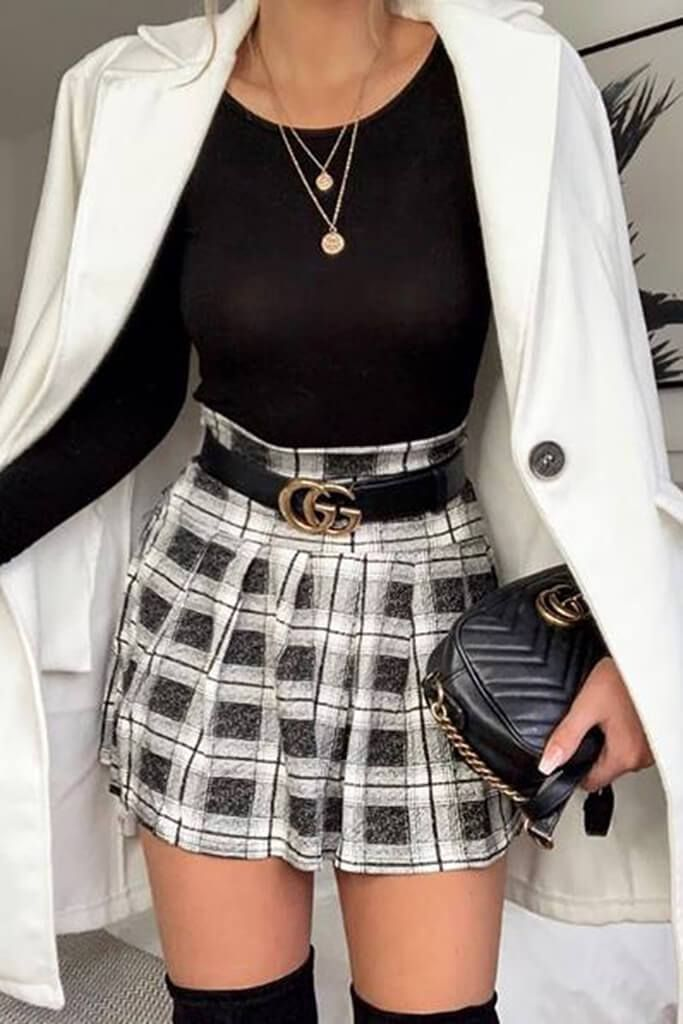 Photo of Grey Checked Skater Mini Skirt