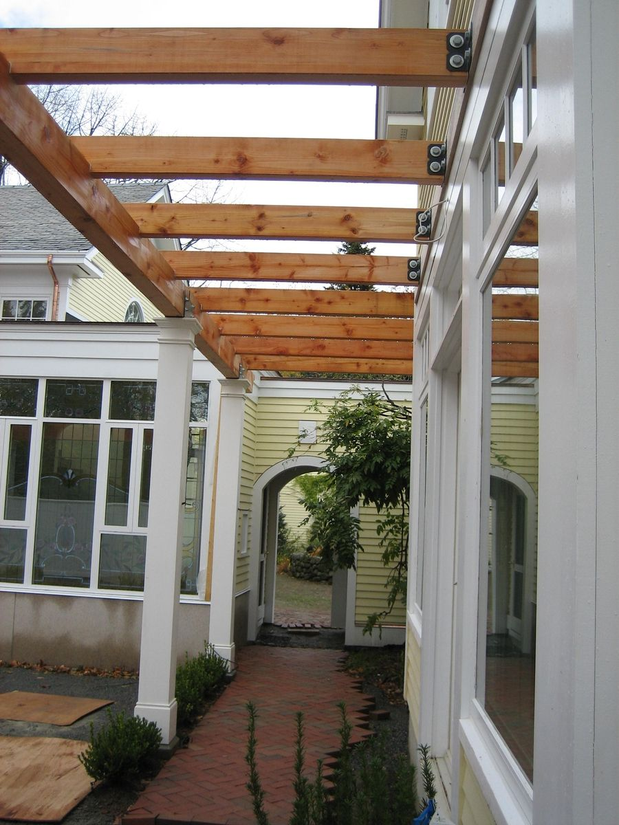 Overhang for back door an patio for upstairs. | Pergola ... on Backdoor Patio Ideas id=78095
