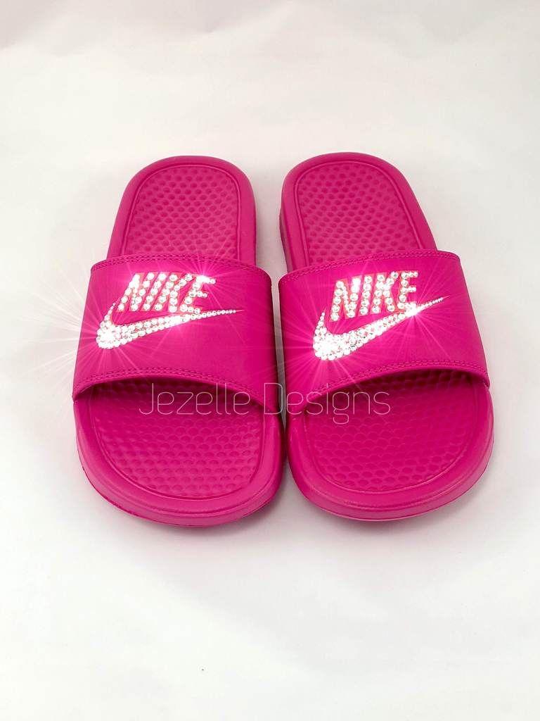 af4589645325 Hot Pink Bling Slides