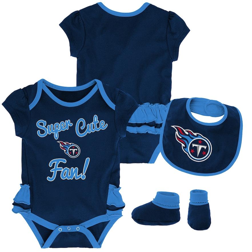3400b104 Baby Girl Tennessee Titans Mini Trifecta Bodysuit, Bib & Booties Set ...