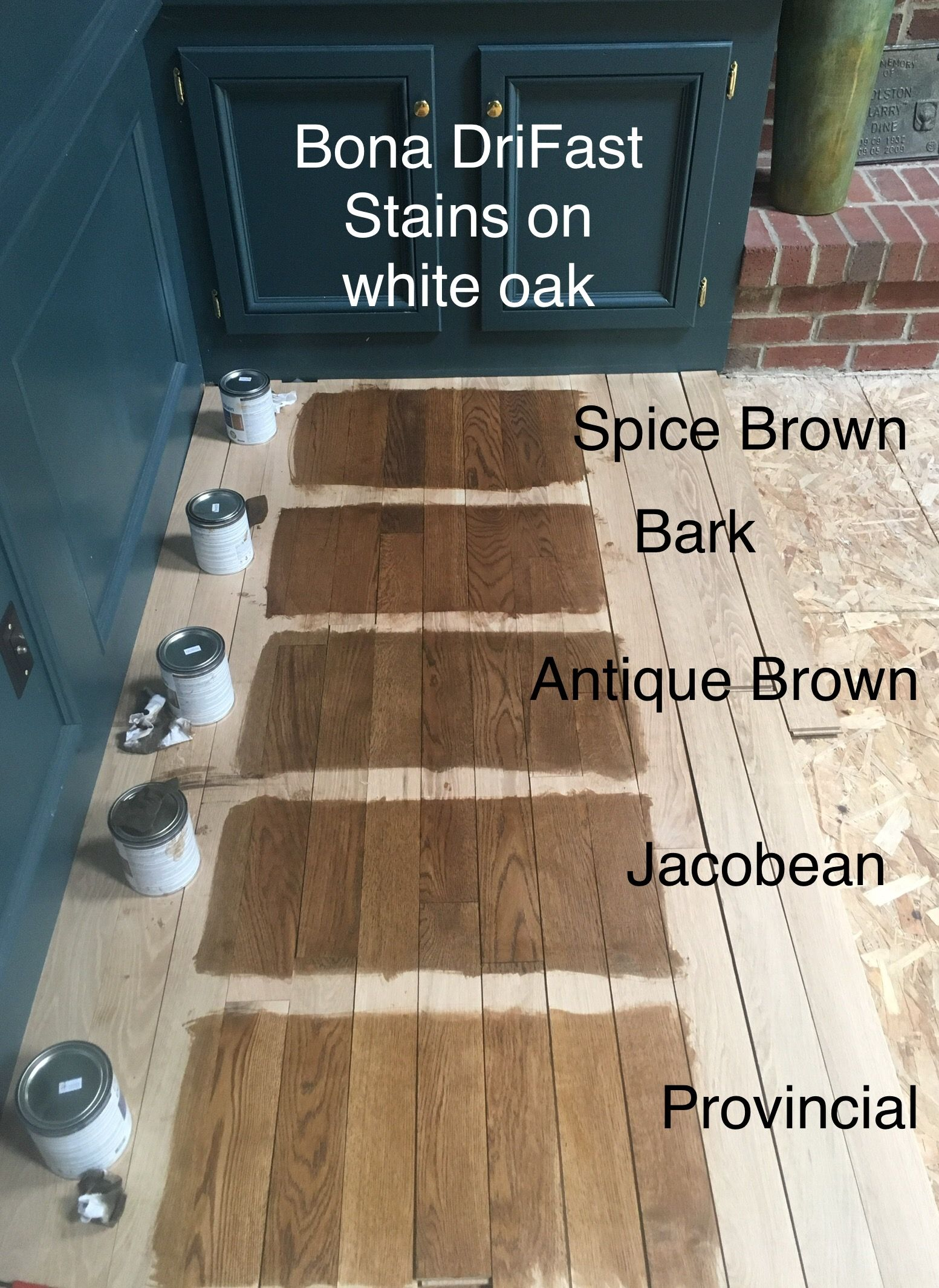 One Coat Of Each Bona Drifast Stain On White Oak In 2019