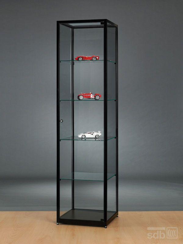 Glasvitrine Schwarz abschließbar 50 cm breit Glasvitrine