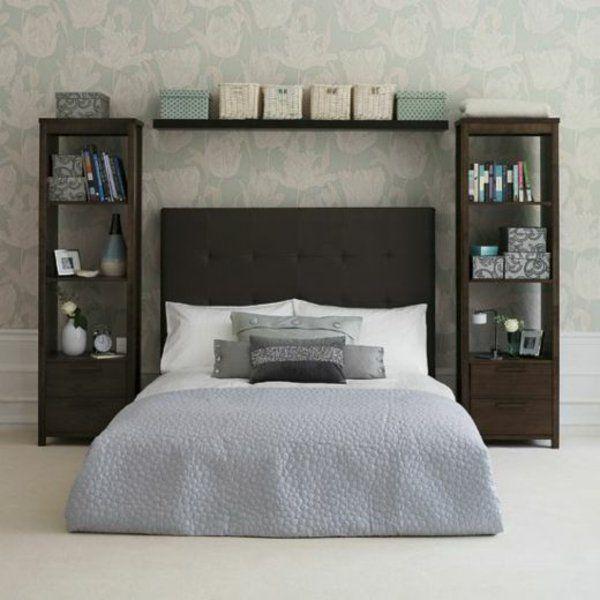 Einrichtungsideen Für Schlafzimmer Bett Regalsystem Hinter Dem - Regalsystem schlafzimmer