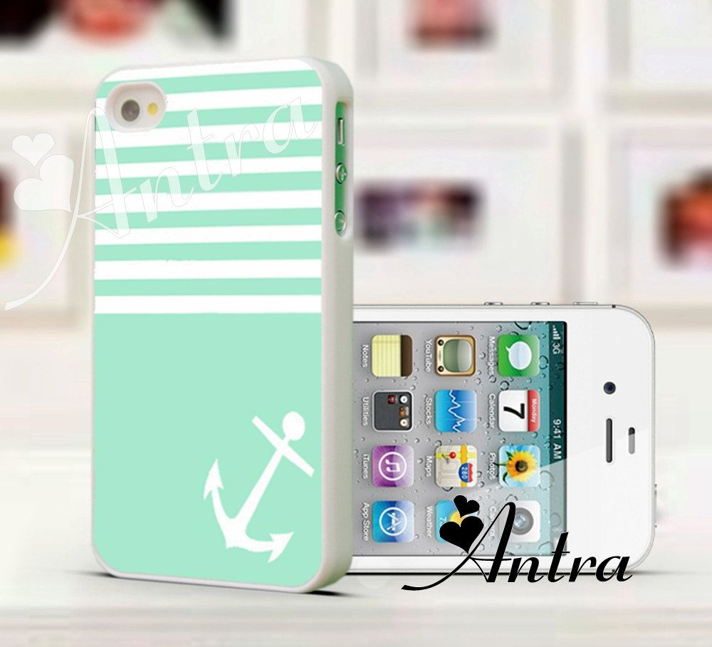 Green iPhone Case, Anchor iPhone 4 case  iPhone 4s case .. $8.88, via Etsy.