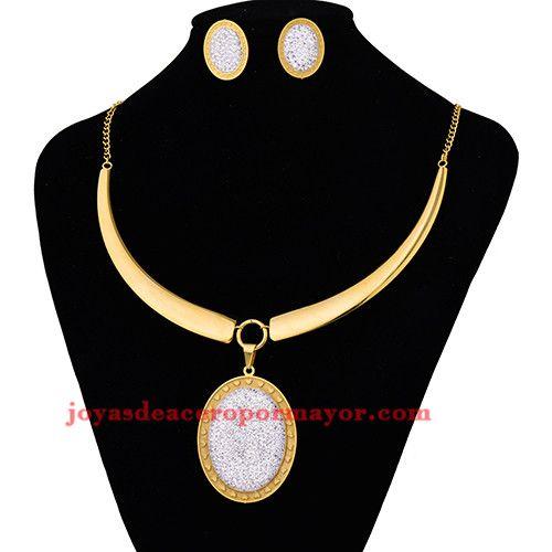 118bfc753696 juego collar grande con aretes de cristal brillo en acero dorado inoxidable…