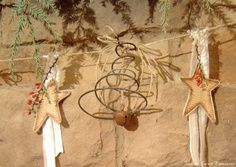 crafts with old bed springs | Old Rusty Bed Spring Jingle Bell...garland...with stars...& strung on ...
