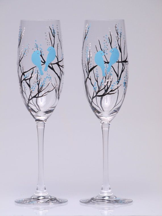 Hand Painted Wedding Toasting Flutes Set Of 2 By Pastinshs On Etsy 49 00
