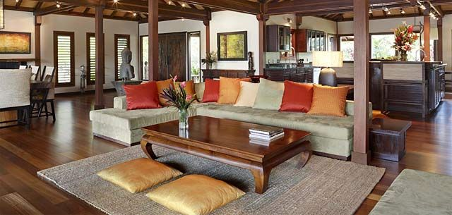 Bali style interior design of a tropical living room Modern tropical living room