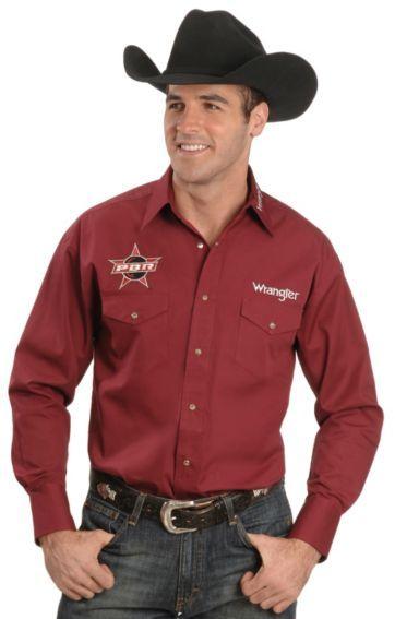 Wrangler Men s Bugundy PBR Logo Shirt  cb64af42857
