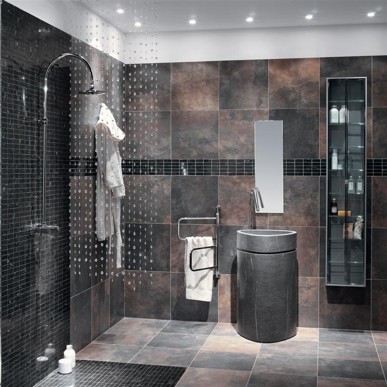 Univers bain roger carrelage slate multicolor - Carrelage salle de bains design ...