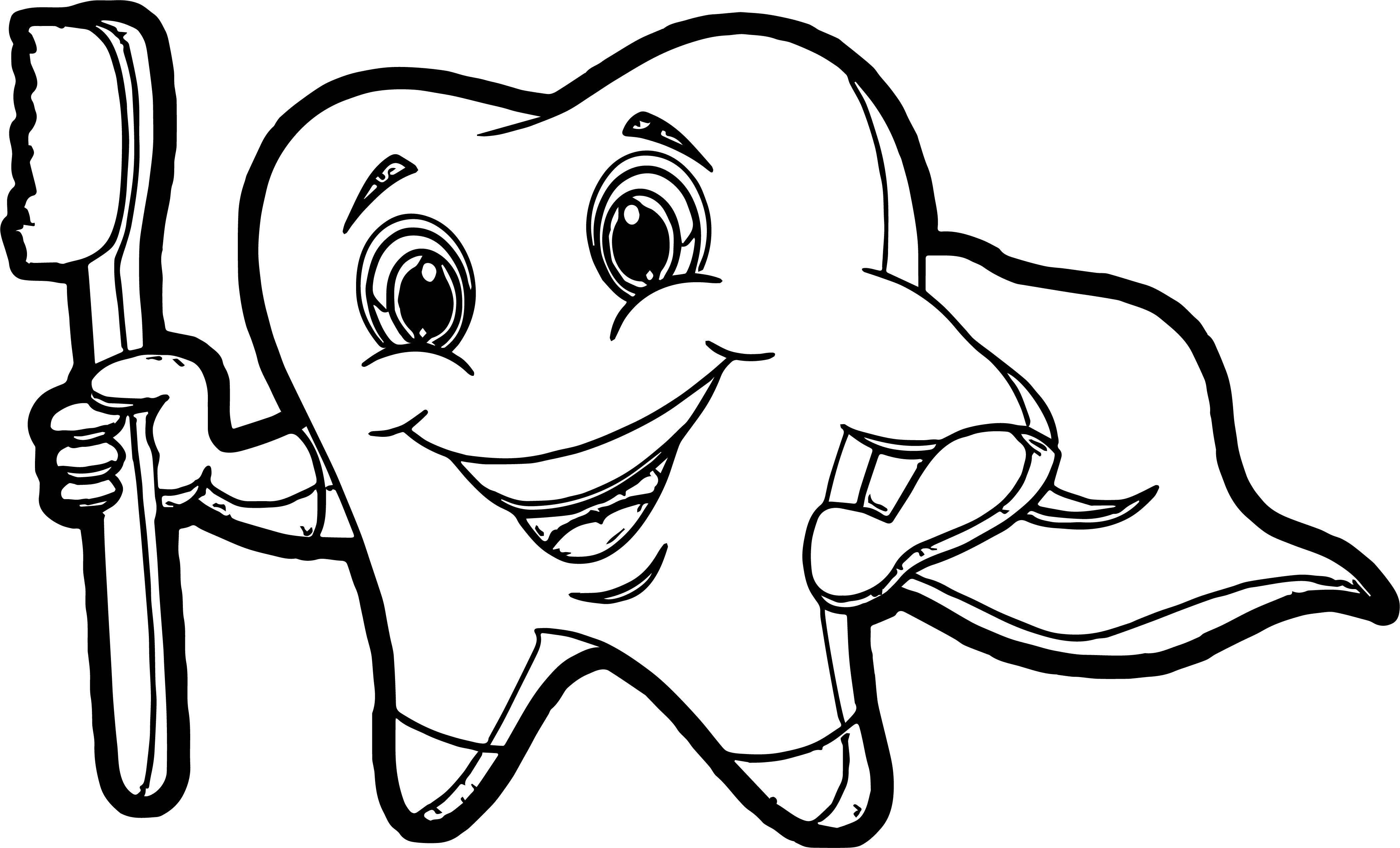 Tooth Cartoon Pictures Of Teeth Coloring Page Tooth Cartoon Cartoon Pics Coloring Pages