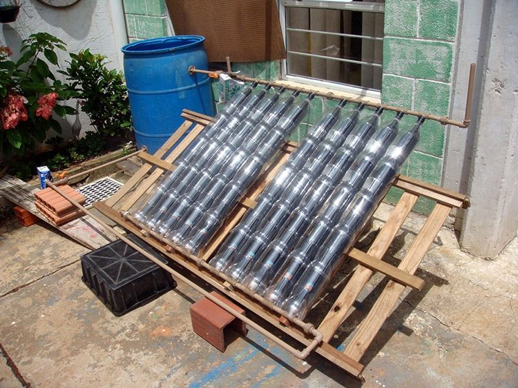 DIY solar water heater with PVC and bottles Солнечные