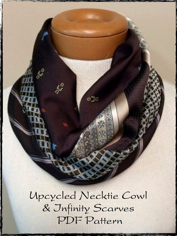 PDF Sewing Pattern for Recycled Repurposed Necktie Cowl (Bonus ...