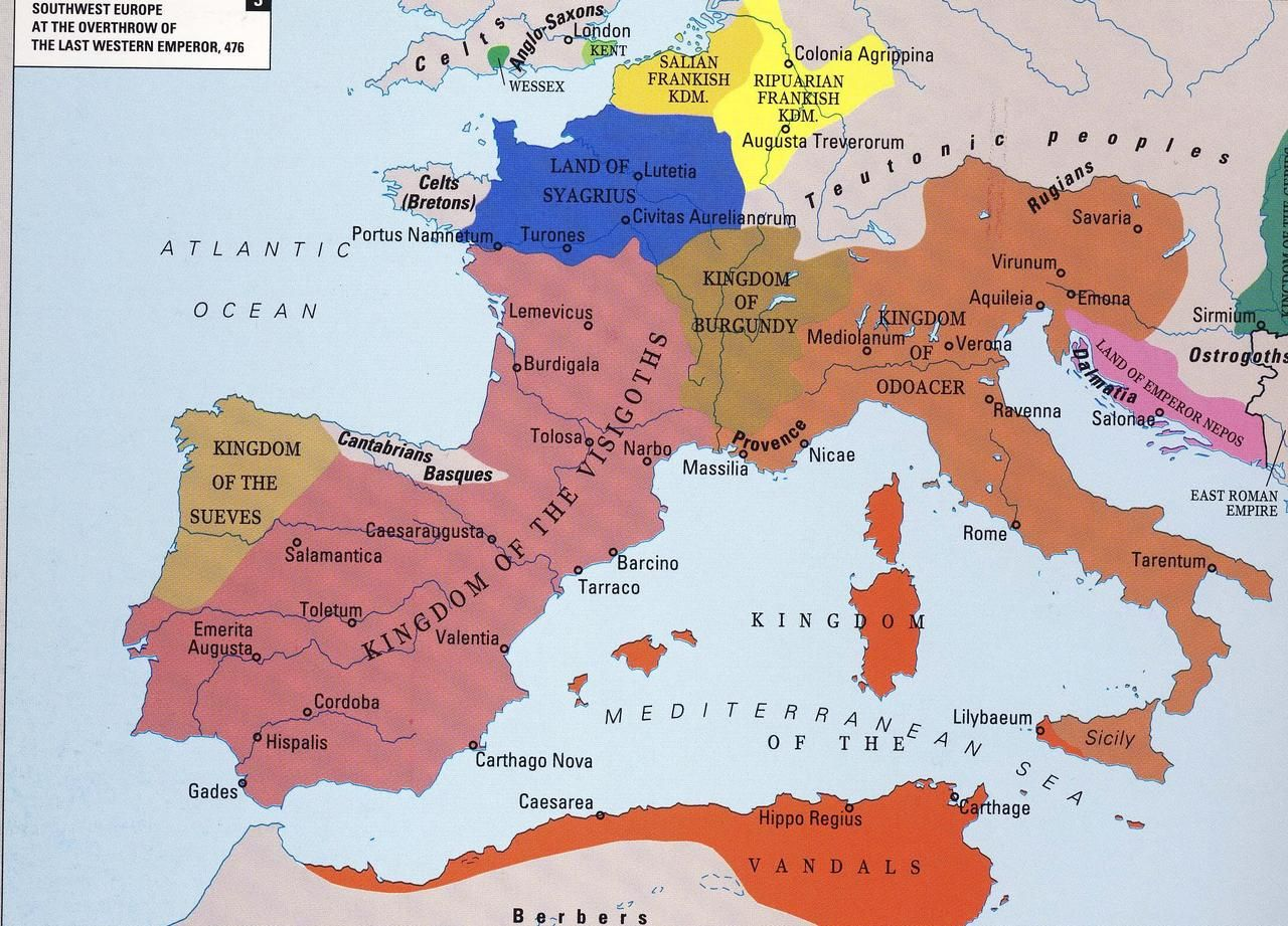 Western Europe After The Fall Of The Western Roman Empire In