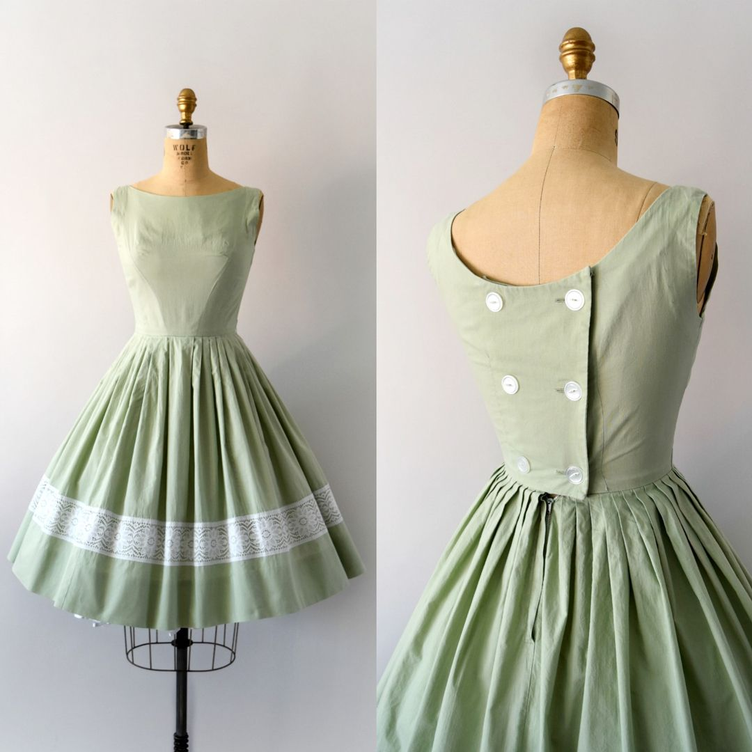 Sweet Bee Finds On Instagram 1950s Vintage Dress Pale Mint Green Cotton Fitted Bodice With Button Back Cl Vintage Dresses 50s Dresses Vintage Dresses