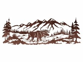 84 Moose In The Pine Forest Metal Wall Art Wall Decor Metal Tree Wall Art Art Gallery Wall Metal Art Diy