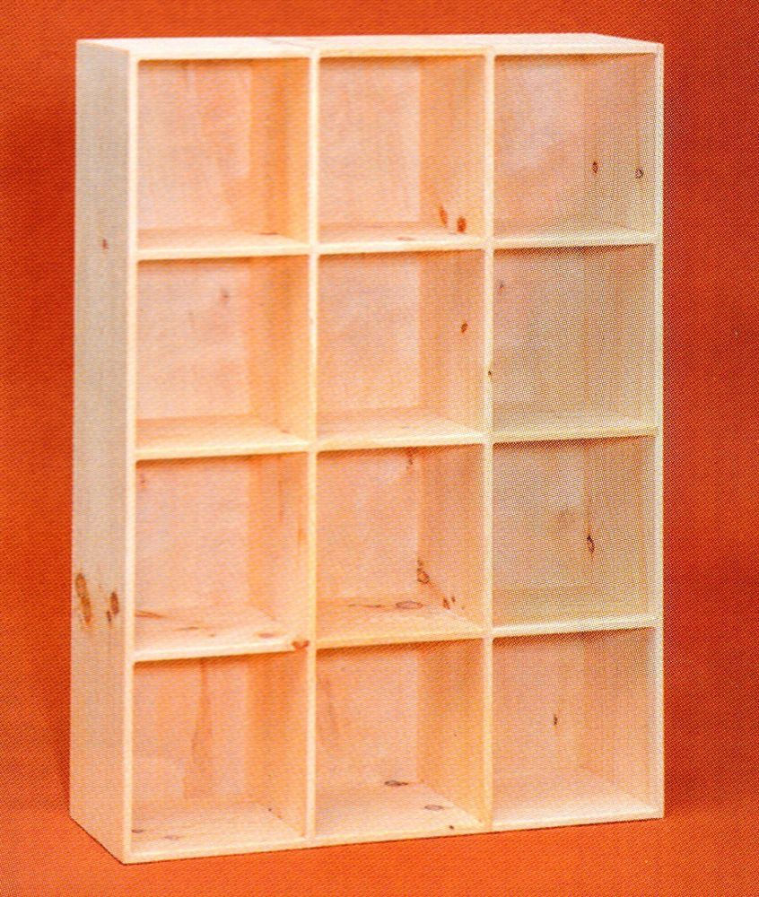 Amish Unfinished Pine 12 Hole Bookcase Shelf Storage Cuddy Cube Shoe Rack Bookcase Shelves Bookcase Storage Shelves