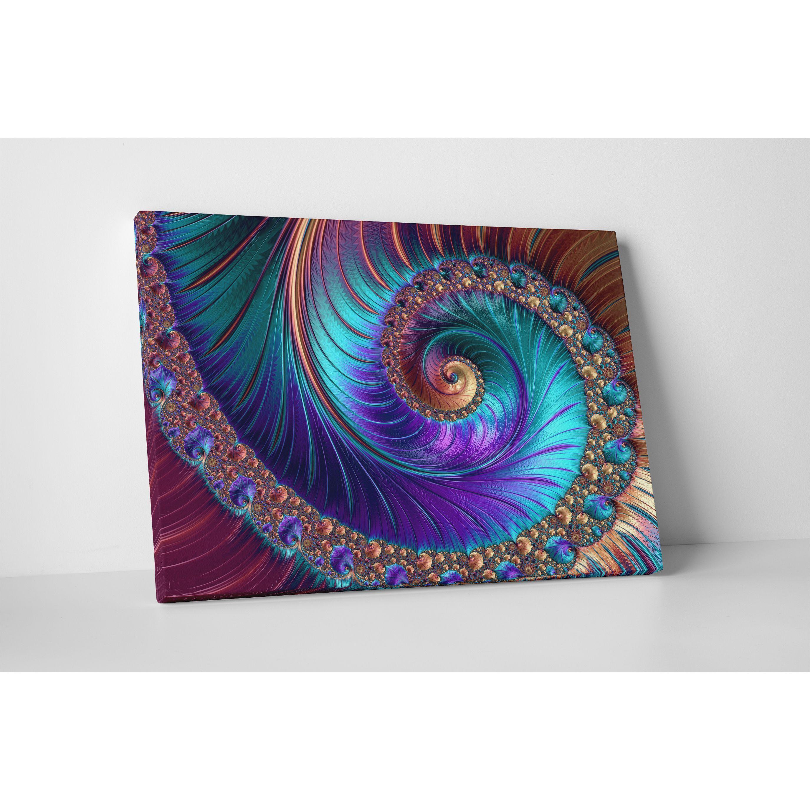 Peacockesk spiralu gallerywrapped abstract canvas wall art