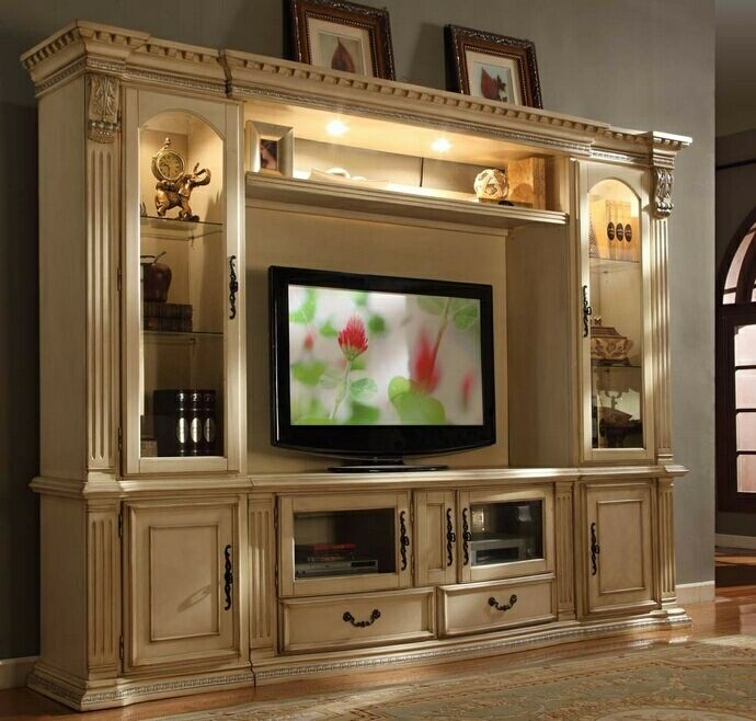 4 Pc Florenza Ii Collection White Wash Wood Finish Tv Entertainment Center Wall Unit With Gl Cabinets Measures 111 X 23 85 H Stand 63