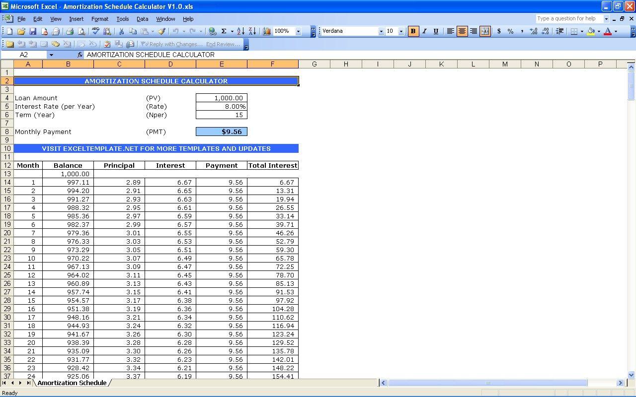 Amortization Schedule Calculator Excel Templates Amortization Schedule Mortgage Amortization Interest Calculator Mortgage loan amortization spreadsheet
