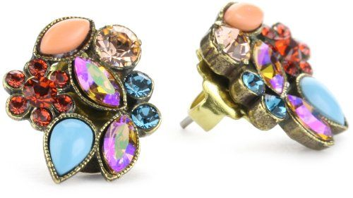 """Sorrelli """"Tropical"""" Floral Crystal Cluster Gold-Tone Earring"""