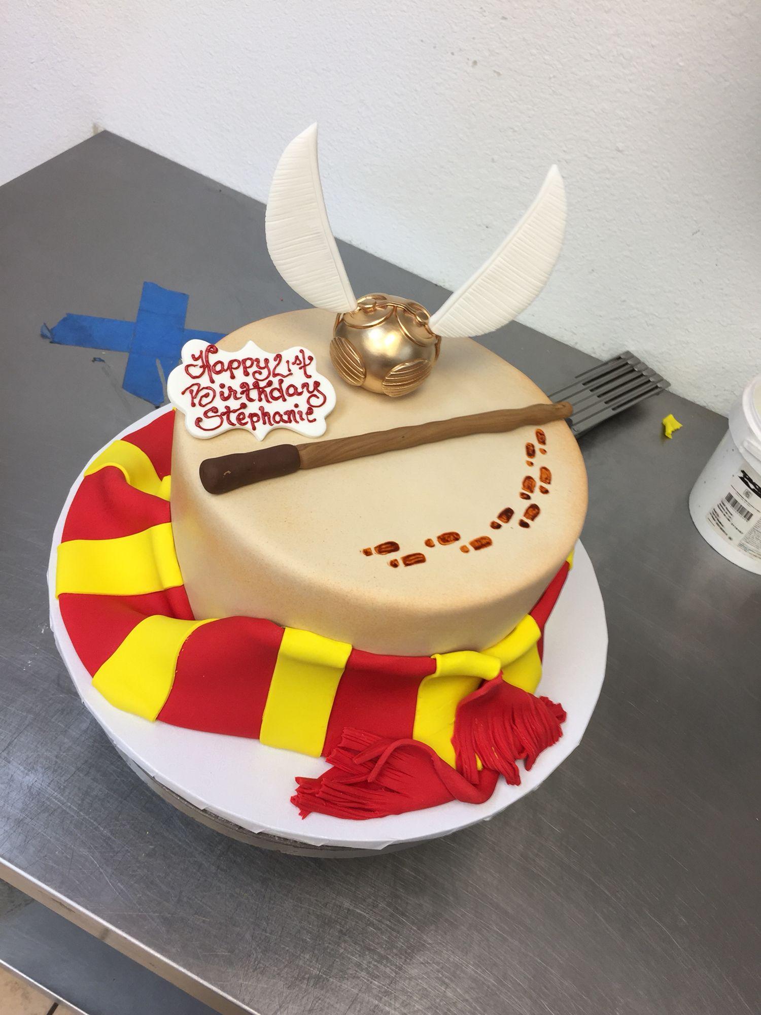 Harry Potter Cake With Handmade Fondant Golden Snitch