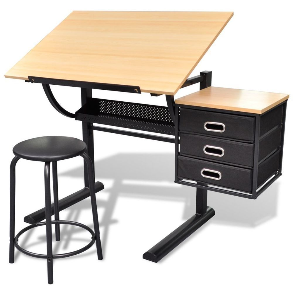 Adjustable Drawing Board Art Artist Design Drafting Table Desk 3 Drawers  Stool