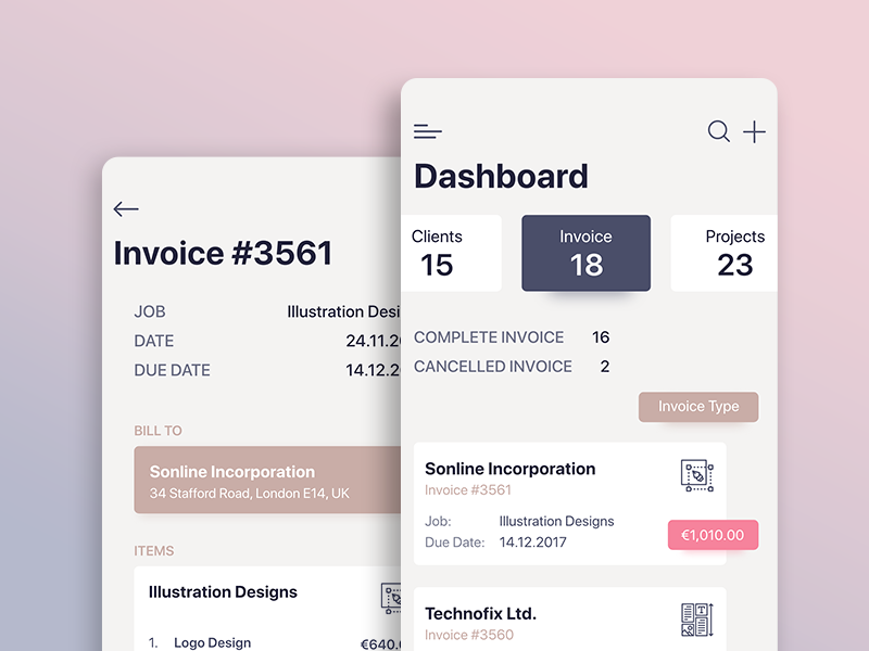 Invoice Dashboard  Mobile Ui Mobile Web Design And Ui Design