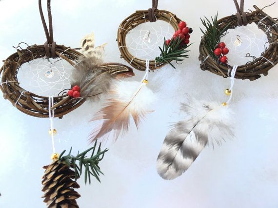Dreamcatcher Christmas Ornaments Set Of 3 By Feathersandfolly Christmas Ornament Sets Christmas Ornaments Ornament Set