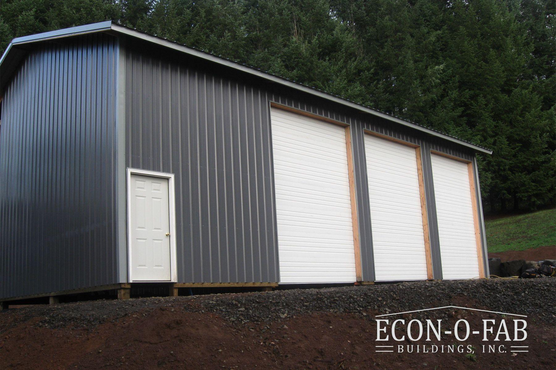 30 X 40 X 16 Pole Building Charcoal Grey Pole Barn Garage