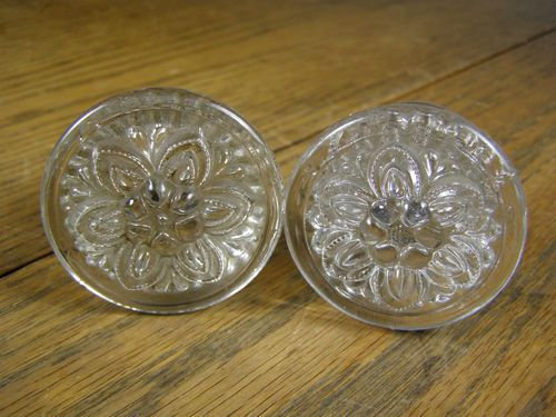antique large sandwich glass drawer pulls