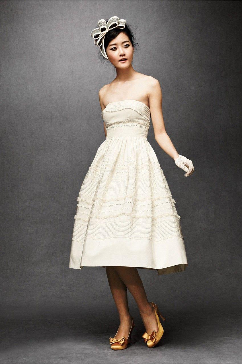 Fondant short strapless tealength tulle wedding dress