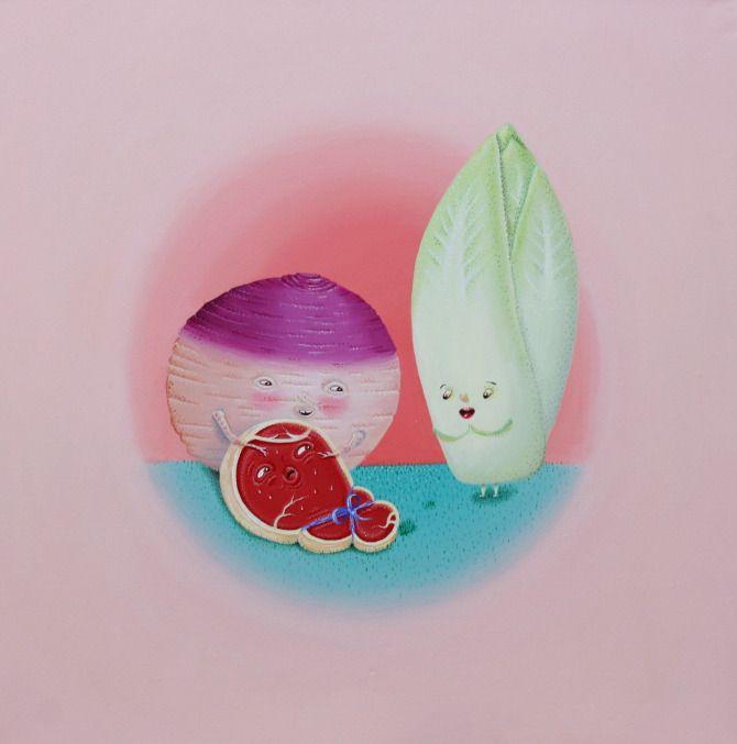 The secret life of vegetables, painting by Maria Imaginário, 2012
